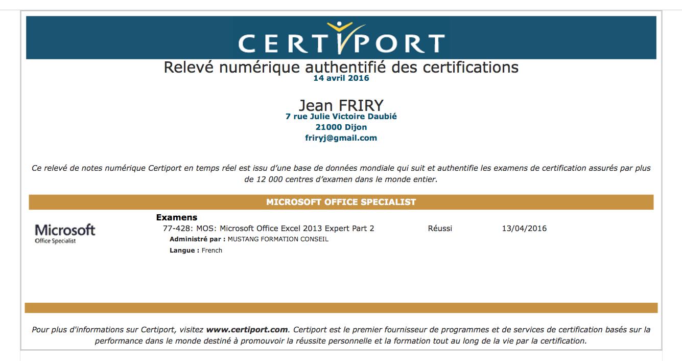Certification MOS Excel Expert 2013 de Jean Friry