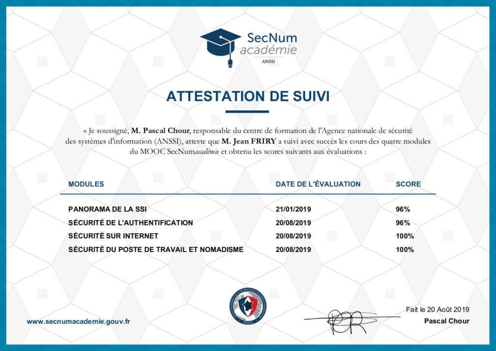 Attestation de suivi SecNum academie (ANSSI) sur la cybersécurité