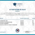 Attestation de suivi SecNum academie (ANSSI)